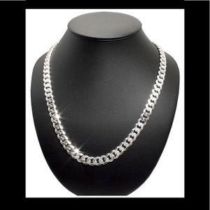 New Silver Diamond Cuban Curb Chain 925 Italy